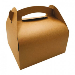 Box with handle brown kraft 180 x 100 x 65 mm (50 pcs)
