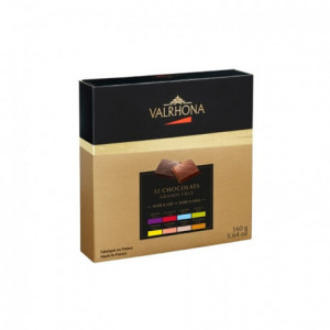 Box of 32 squares of 8 dark and milk Grand Cru chocolates 160 g