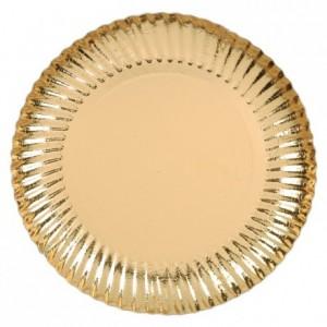 Gold round cardboard plate, metallic effect Ø 200 mm 50 pcs