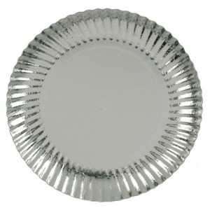 Silver round cardboard plate, metallic effect Ø 200 mm 50 pcs