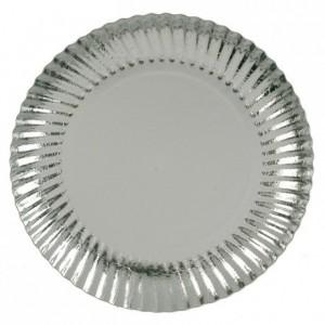 Silver round cardboard plate, metallic effect Ø 280 mm 25 pcs
