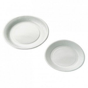 Round grease proof cardboard white plate recycle Ø 230 mm (500 pcs)