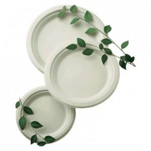 Round fibre plate biodegradable Ø 230 mm (500 pcs)