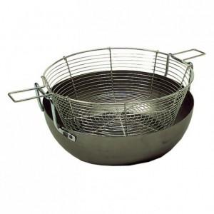 Deep frying basin with basket black steel Ø 400 mm