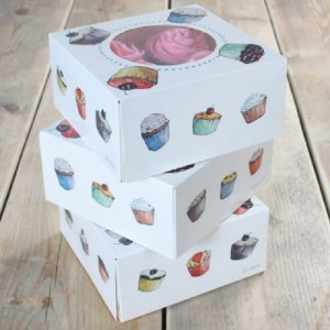 FunCakes Cupcake Box 4 Cupcakes 17x17x8cm + insert pk/3