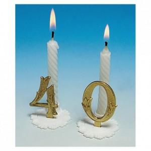 Gold birthday candle 0 (10 pcs)