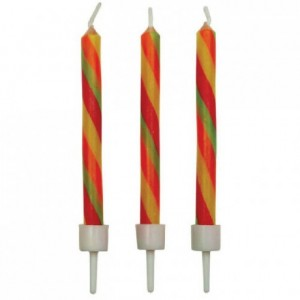 PME Candles Candy Stripes Twist with Holders Pk/10