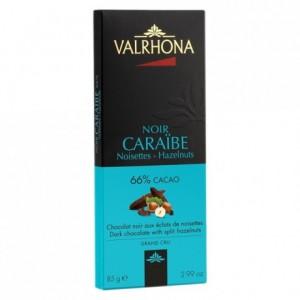Caraïbe 66% dark chocolate with split hazelnuts bar 85 g