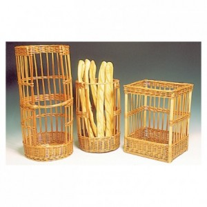 Rectangular wicker bread basket 400 x 300 mm H 500 mm