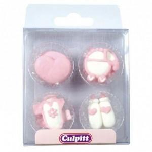 Culpitt Sugar Decorations Baby Pipings Pink pk/12
