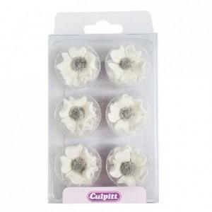 Culpitt Sugar Decorations Anemones White pk/12
