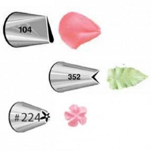 Wilton Decorating Tip Set Petal 104 Leaf 352 Flower 224