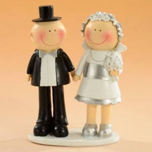 Decorative Figure Wedding - Silver Wedding Couple