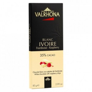 Ivoire 35% white chocolate with raspberry chips bar 85 g