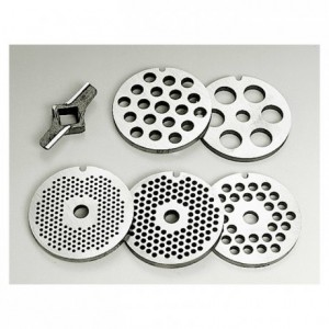 Set of 5 grinding plates (2 - 4,5  6 - 8 et 14 mm) and 2 cutters plates for T8 and n°12/8