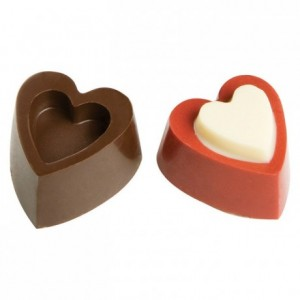 Chocolate mould polycarbonate 24 hearts in relief