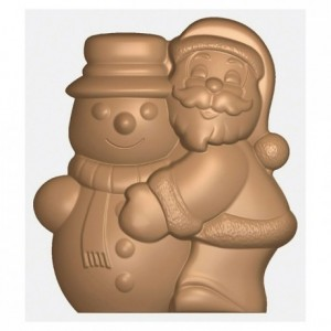 Santa Claus and Snowman chocolate mould in polycarbonate 275 x 175 mm