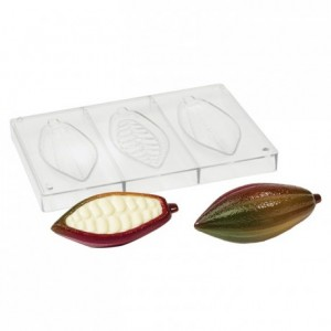 Cocoa pods chocolate mould in polycarbonate 140 x 23 x 13 mm