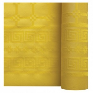 Damask coloured table cloth yellow 1.2 x 25 m