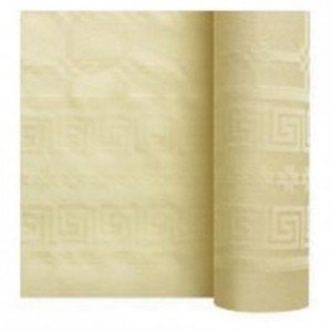 Damask coloured table cloth ivory 1.2 x 25 m