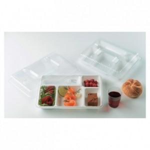 5 compartments tray white (200 pcs)