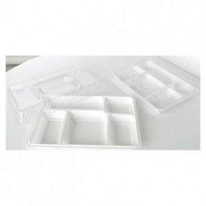 5 compartments reinforced tray white (200 pcs)
