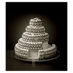 Set of 3 circles tiers stainless steel french style round wedding cake Ø 460 mm