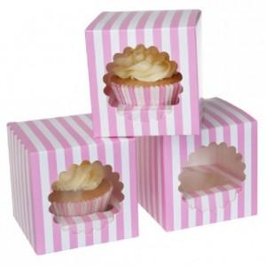 House of Marie Cupcake Box 1 Circus Pink pk/3