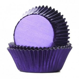 House of Marie Baking Cups Foil Purple pk/24