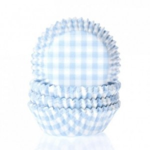 House of Marie Baking cups Gingham Pastel Blue pk/50