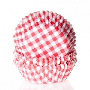 House of Marie Baking cups Gingham Red pk/50