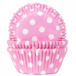 House of Marie Baking Cups Polkadot Baby Pink pk/50