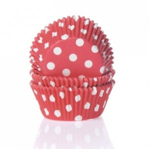 House of Marie Baking cups Polkadot Red pk/50