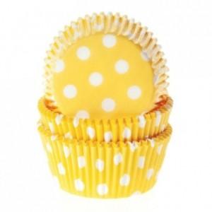 House of Marie Baking cups Polkadot Yellow pk/50