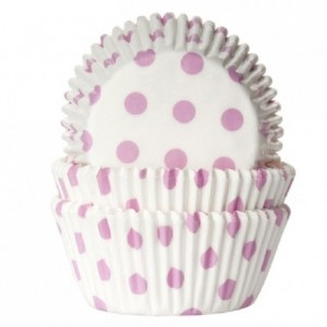 House of Marie Baking cups Polkadot white/baby pink pk/50