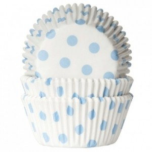 House of Marie Baking cups Polkadot white/baby blue pk/50