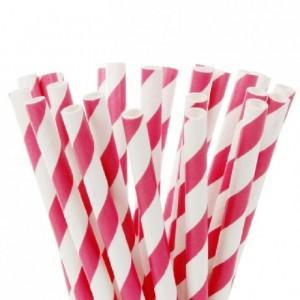 House of Marie Cake Pops Straws Stripes Fuchsia Rink pk/20