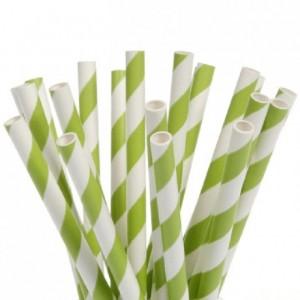 House of Marie Cake Pops Straws Stripes Green pk/20
