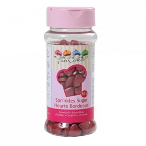 FunCakes Sugar Hearts Bordeaux 80g