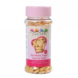 FunCakes Sugar Hearts Gold 80g