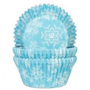 House of Marie Baking Cups Snow Crystal Blue pk/50