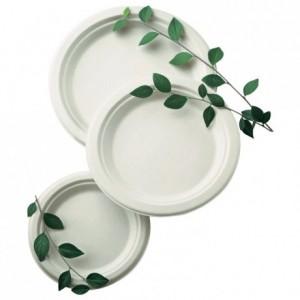 Round fibre plate biodegradable Ø 180 mm (1000 pcs)