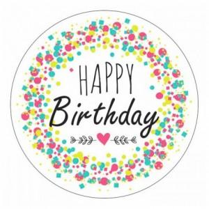 Edible Happy Birthday round shape (24 pcs)