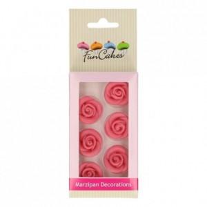 FunCakes Marzipan Decorations Roses Pink Set/6